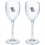 Standing Moose Pewter Accent Wine Glass Goblets, Set of 2
