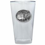 Standing Moose Pint Beer Glasses with Pewter Accent, Set of 2