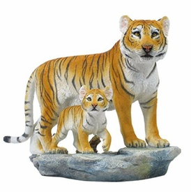 Standing Tiger and Cub Sculpture