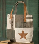 Star Patchwork Burlap and Canvas Tote Bag