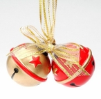 Stars Sleigh Bells Christmas Tree Ornaments, Set of 4