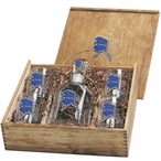 State of Alaska Blue Capitol Decanter & DOF Glasses Box Set w/ Pewter