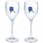 State of Alaska Blue Pewter Accent Wine Glass Goblets, Set of 2