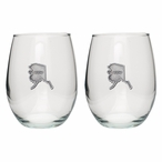 State of Alaska Pewter Accent Stemless Wine Glass Goblets, Set of 2
