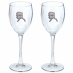 State of Alaska Pewter Accent Wine Glass Goblets, Set of 2