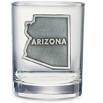 State of Arizona Pewter Accent Double Old Fashion Glasses, Set of 2