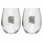 State of Arizona Pewter Accent Stemless Wine Glass Goblets, Set of 2