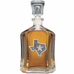 State of Texas Capitol Glass Decanter with Pewter Accents