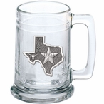 State of Texas Glass Beer Mug with Pewter Accent