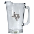 State of Texas Glass Pitcher with Pewter Accent