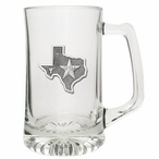 State of Texas Glass Super Beer Mug with Pewter Accent