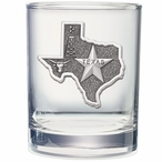 State of Texas Pewter Accent Double Old Fashion Glasses, Set of 2