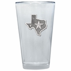 State of Texas Pint Beer Glasses with Pewter Accent, Set of 2