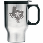 State of Texas Stainless Steel Travel Mug with Handle & Pewter Accent