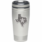 State of Texas Stainless Steel Travel Mug with Pewter Accent
