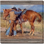 Steady Now Cowboy with His Horse Wrapped Canvas Giclee Print Wall Art