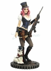 Steampunk Female with Rifle and Cat Sculpture