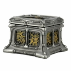 Steel and Brass Steampunk Butterfly and Gears Trinket Box