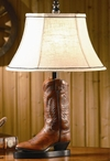 Stetson Boot Resin Table Lamp with Oval Beige Linen Shade