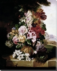 Still Life of Flowers and a Bird Nest Wrapped Canvas Giclee Art Print