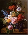 Still Life of Flowers and Fruits Wrapped Canvas Giclee Print
