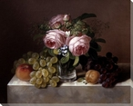 Still Life of Fruit & Flowers Wrapped Canvas Giclee Print Wall Art