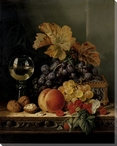 Still Life of Grapes and a Peach Wrapped Canvas Giclee Print