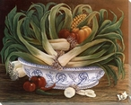 Still Life of Leeks & Peppers Wrapped Canvas Giclee Print Wall Art