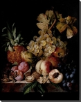 Still Life of Peaches, Plums and Nuts Wrapped Canvas Giclee Art Print