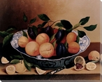 Still Life of Plums & Peaches Wrapped Canvas Giclee Print Wall Art