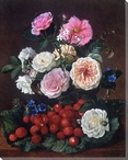 Still Life of Roses and Strawberries Wrapped Canvas Giclee Print