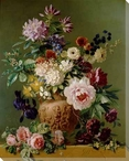 Still Life of Summer Flowers Wrapped Canvas Giclee Print Wall Art
