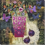 Still Life with Butterflies and Flowers Wrapped Canvas Giclee Print