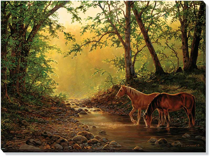 Stillwater Creek Horses Wrapped Canvas Giclee Print Wall Art - Wall ...