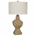 Stone County Resin Table Lamp with Natural Linen Shade