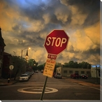 Stop Park Smart City Street View Wrapped Canvas Giclee Print Wall Art