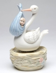Stork Carrying Baby Boy Musical Music Box Sculpture