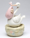 Stork Carrying Baby Girl Musical Music Box Sculpture