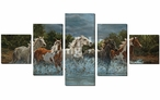 Storm Crossing Wild Horses Wrapped Canvas Giclee Wall Art, Set of 5