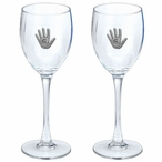 Story Hand Pewter Accent Wine Glass Goblets, Set of 2