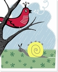 Storybook Springtime Snail and a Bird Wrapped Canvas Giclee Art Print
