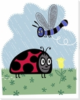 Storybook Summertime Ladybug Wrapped Canvas Giclee Print Wall Art