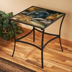 Streamside Black Bear Metal Accent Table with Glass Top