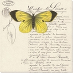 Striking Yellow Butterfly Wrapped Canvas Giclee Print Wall Art