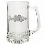 Striped Bass Fish Glass Super Beer Mug with Pewter Accent