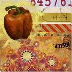 Studio Collage Pepper Wrapped Canvas Giclee Print Wall Art