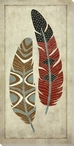 Stylized Feather Brown & Red Wrapped Canvas Giclee Print Wall Art