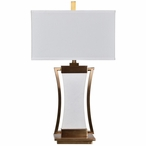 Sullivan Marble and Metal Table Lamp with White Linen Shade