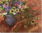Summer Bouquet of Flowers Wrapped Canvas Giclee Print Wall Art