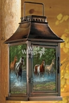Summer Creek Horses Metal and Glass Candle Lantern